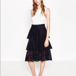Zara Tiered Dark Navy Blue Lace Midi Skirt
